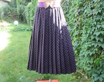 Polka Dots Pleated Skirt / Skirt Vintage / Violet Polka Dots Skirt /  Black Pleated Skirt / Pleated Skirt / Size EUR 40 /  42 X UK12 / 14