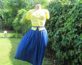 Long Silk Skirt Vintage / Navy / SizeEUR34 / 36 / UK6 / 8