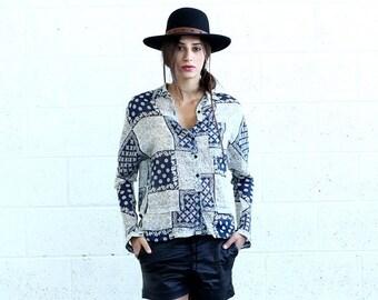 Final Summer Sale Button Down Shirt, Patchwork Print