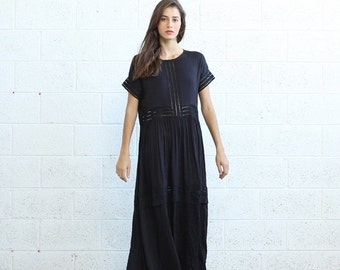 Valentines day Eyelet Trim Party Dress , Black  maxi dress.