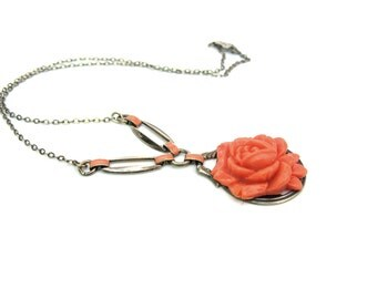 Art Deco Coral Necklace. Orange Celluloid Rose Pendant. Enamel, Sterling Silver Choker, Gold Gilt Wash. Vintage 1930s Art Deco Jewelry