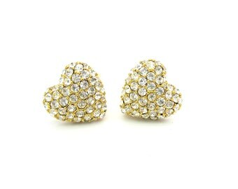 Monet Heart Earrings. Puffy Hearts, Pavé Rhinestone Crystals. Gold Tone. Comfort Clip Ons. Vintage 1980s Retro Jewelry