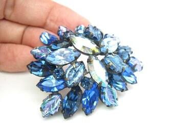 Regency Jewelry. Sapphire Blue Rhinestone Brooch. Carnival Glass. Aurora Borealis. Vintage 1950s Statement Jewelry.