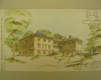 J D Farnsworth School of Art, Wellesley College, Wellesley, Massachusetts, 1888, Rotch & Tilden, Architects. Hand Colored, Original Plan
