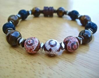 Men's Spiritual, Protection, Love and Fortune Bracelet with Semi Precious Terracotta Tibetan Eye Agates, Tiger's Eye, Hematites, Lava, W