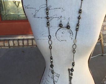 Long necklace in gunmetal chain and beads, crystals,  Mother's Day present one of a kind