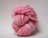 Thick and Thin Handspun Merino Wool Yarn Slub Hand Dyed tts(tm) Merino Bulky Bubblegum Pink 02