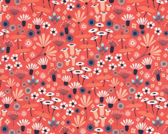 Wildwood Wildflower in Crimson, Elizabeth Olwen, 100% GOTS-Certified Organic Cotton, Cloud9 Fabrics, 124306