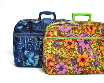 Vintage Pair of Sift Sided Floral Suitcases