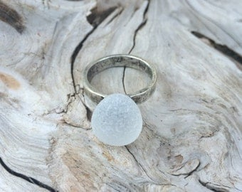 Genuine Sea Glass Ring, White Sea Glass Ring, Size 7