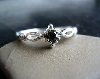Classic Elegance - Genuine Natural Black Diamond Solitaire Engagement Ring - Alternative Wedding Ring - Unisex Solitaire, For Him, For Her