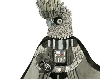 Illustration - Pen and Watercolour,  Darth - Limited Edition Print by Jennie Deane