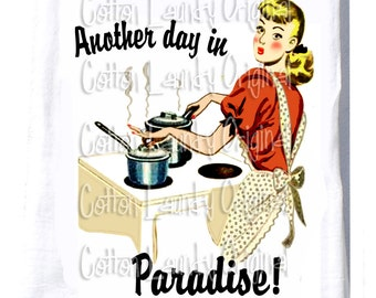 """Hostess Gift - Tea Towel-Christmas Gif -Christmas Party Gift -Hostess Kitchen-Teacher -""""Another Day in Paradise"""""""