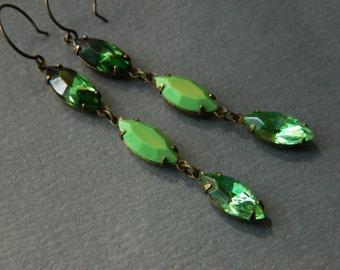 Green Earrings, Ombre Green Earrings, Art Deco Earrings, Peridot Green, Vintage Rhinestone Earrings, Green Rhinestones, Bridal Earrings