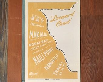 Oahu - Leeward Coast Surf Map - 12x18 Retro Hawaii Travel Print