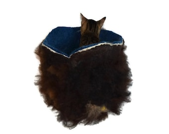Cruelty Free, Cat Bed, Cat Basket, Wool Cat Bed, Fleece Cat Bed, Cat Cradle, Cat Cave, Felted Fleece, Dog Basket, Natural Pet Bed, Cat Nest