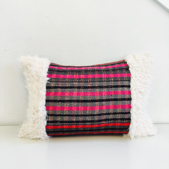 "Boho Pink and Grey Striped Pillow Cover 13""x18"" Lumbar Cushion Pillow Ethnic Bohemian Red Pink Grey Black Striped Motif Faux Fur Pillow"
