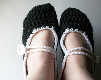 Black and White Slippers Crochet Mary Jane Slippers Cotton Slippers All sizes 6, 7, 8, 9, 10