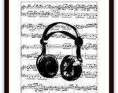 SALE Headphones Music Wall Art Print,  Gift Ideas, DJ, Disc Jockey, Pop Rock Art, Audio Sound Engineer, Dorm Room, Home & Living