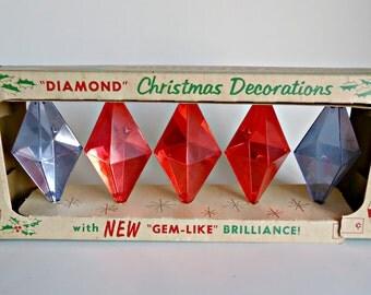 5 Vintage Diamond Christmas Tree Decorations Reflectors Red Blue 1970's