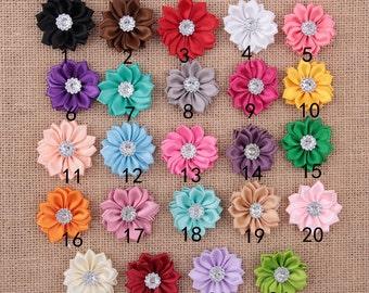 Set of 48 Satin Ribbon Flower With Rhinestone, DIY Multilayers Flower , Hair Accessories / Garment Accessories, garment bows, gift bows