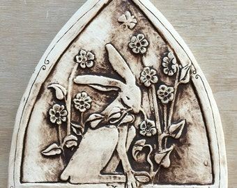 Rabbit with Flowers Arch in  chocolate brown-Carved and Painted Handmade Ceramic Tile for Wall Hanging, garden or installation