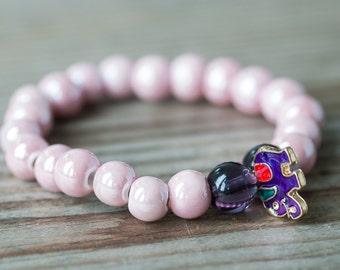 Summer Bracelet, Beaded Bracelet, Pink Bracelet, Summer Jewelry, Ceramic Bracelet, Elephant Charm Bracelet, Gift For Friend, Budget Jewelry
