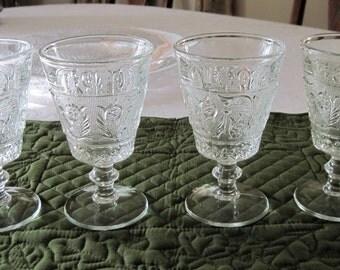 4 Vintage Duncan Miller Sandwich Pattern Glass Water Goblets  Circa 1930's
