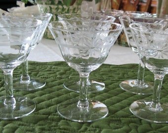 6 Vintage Mid Century Panel Optic Gray Cut Floral Spray & Band Martini Cocktail Glasses