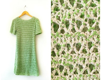 SALE- Vintage 1970s Lime Green Crochet Dress size Small