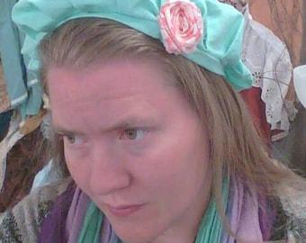 boho cottage frumpy baker hat with rose