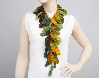 Leaves  crochet scarf  ,crochet necklacescarf ,shades of green