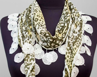 Fringed lace scarf ,triangle lace scarf , guipure scarf, flowered ,woman scarf