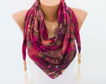 CLEARANCE SALE -Tassel scarf  ,fringed triangel scarf ,woman scarf,