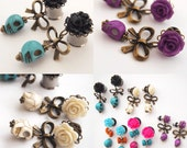 """6g 4mm 00g 10mm  7/16"""" 11mm 1/2"""" 12mm Plugs  Day of the Dead Dangle Spooky Macabre Gauges"""