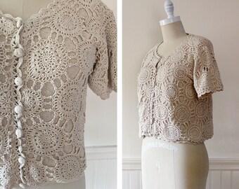 Vintage Crochet Top --> Cream Sweater --> Summer Top --> Cream Crochet Top --> Short Sleeve Sweater --> Boho Top --> Knit Top --> Cream Top
