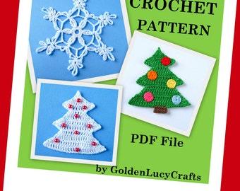 Christmas Tree Applique, Snowflake, Ornaments, Crochet PATTERN, PDF
