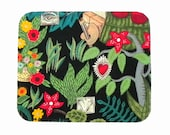 Mouse Pad - Fabric mousepad - Heart and Flowers - Home office / computer / Electronic