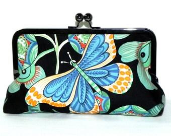 Butterfly Clutch - floral in black, mint, blue and orange- Gunmetal Kisslock frame