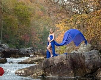 Dorina Royal blue chiffon maternity gown / maternity dress / wedding dress/double layered chiffon gown
