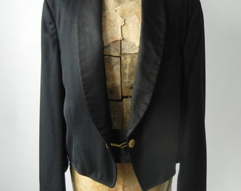 Vintage Tux, Vintage Tux Jacket, Vintage Tuxedo, Short Tux Jacket, Waiter Jacket, Waiter's Jacket, Black Short Tux, Short Tuxedo, 1970s Tux