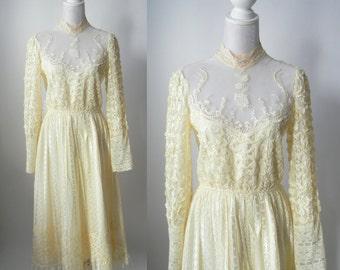 Vintage 1980s Victorian Style Lace Dress