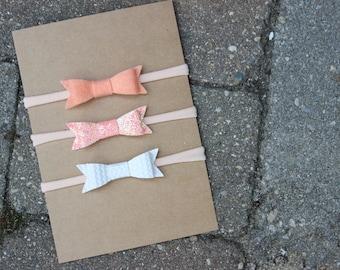 Set of 3 {EMMA} Headbands - Felt Peach, Sparkle Peach, Ivory Basket Weave Faux Leather - Starter Set - Baby Shower Gift