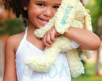 Plush Easter Bunny Personalized with a Name--Stuffed Bunny Monogrammed