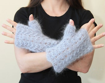 Short FINGERLESS GLOVES, Hand Knit Mohair Fingerless Gloves by Solandia, armwarmers, wristlets, Grey Blue Wrist Warmers, spring gloves