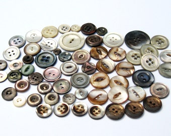 Vintage Shell Buttons: 60 Hand Carved Shell Buttons, Abalone, Gray Shell, Swirled, Antique Shell Buttons