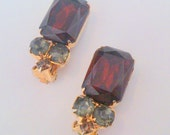 Vintage Garnet Colored and Green Rhinestone Cluster Clip Statement Earrings