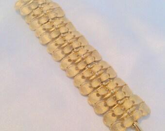 Vintage Brushed Gold Tone Chunky Link Statement Bracelet