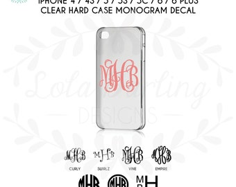 iPhone 4 / 4S / 5 / 5S / 5C/  6 / 6 Plus Thin Clear Hard Case with Monogram Vinyl Decal