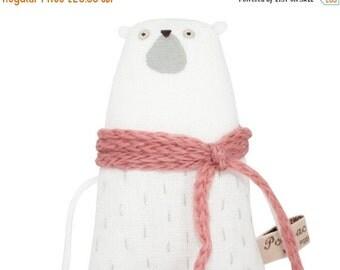 ON SALE 25% OFF Tiny Polar Bear Plush Toy, Miniature Polar Bear, Hand-Embroidered Doll Tiny White Teddy Bear with Dusky Pink Scarf, Poosac